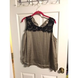 Tops - Bronze/ gold and black lace tank top